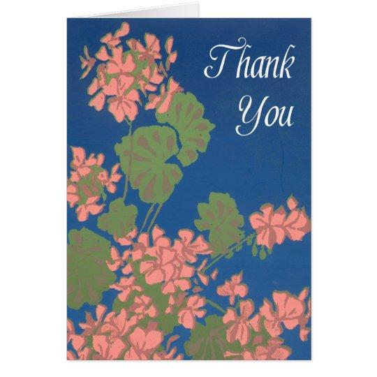 Salmon Pink Geraniums on Deep Blue Thank You Card