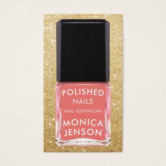 Salmon Pink Nail Polish Bottle Faux Glitter Business Card