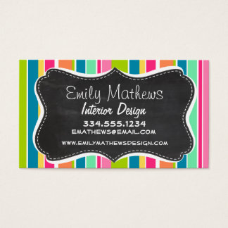Salmon Pink & Seafoam Green; Vintage Chalkboard Business Card