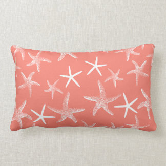 Salmon Pink Starfish Decorative Lumbar Pillow