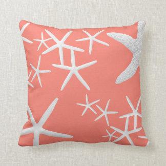 Salmon Pink Starfish Decorative Throw Pillow