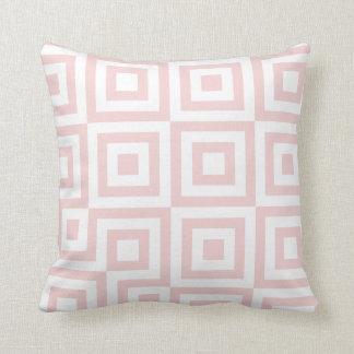 Salmon Pink & White Modern Geometric Pattern Throw Pillow