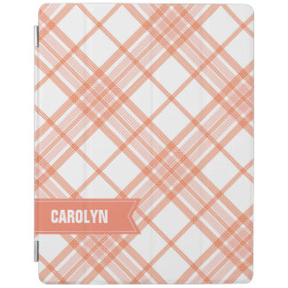 Salmon Plaid Monogram iPad Mini Cover