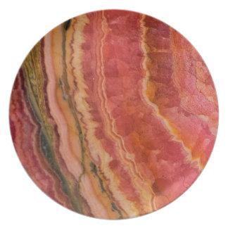 Salmon Striped Quartz Plate
