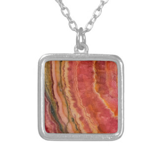 Salmon Striped Quartz Silver Plated Necklace