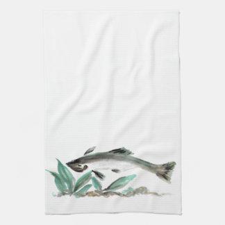 Salmon, Sumi-e Hand Towel