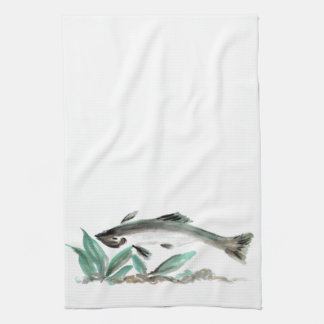 Salmon, Sumi-e Kitchen Towel