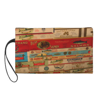 Salmon Vintage Cans Labels Wristlet