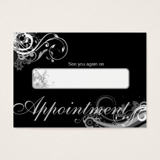 Salon Appointment Card Spa Floral Swirls Black