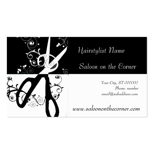 Salon Black and White  Scissors Business Card Templates