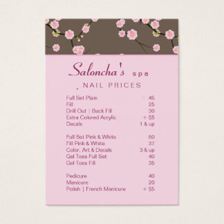 Salon Business Card spa cherry blossom pink 2