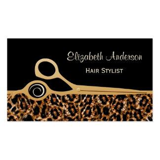 Salon de coiffure élégant de léopard de noir et d' carte de visite standard