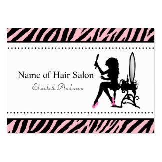 Salon de coiffure rose et noir de femme chic de modèles de cartes de visite