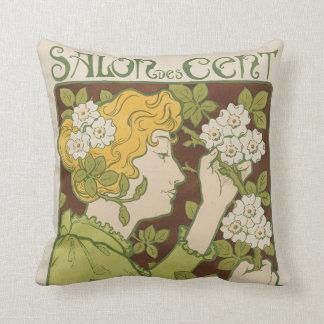 Salon des 100 throw pillow