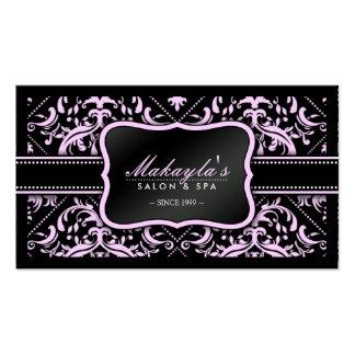 Salon élégant et spa roses et noirs de damassé carte de visite standard