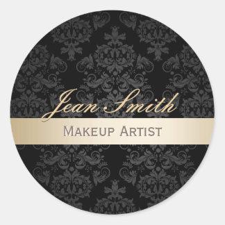 Salon élégant rayé de damassé d'or de maquilleur sticker rond