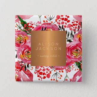 Salon employee copper metallic watercolor floral 2 inch square button