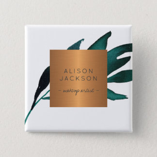 Salon employee copper metallic watercolor leaves 2 inch square button
