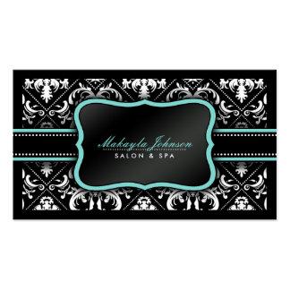 Salon et spa noirs et blancs élégants de damassé carte de visite