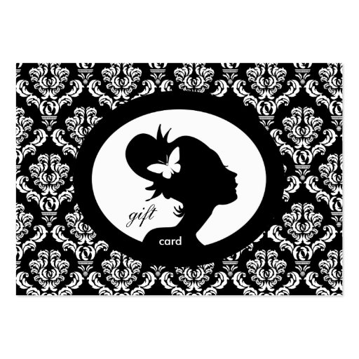 Salon Gift Card Butterfly Woman Silhouette BW Business Card