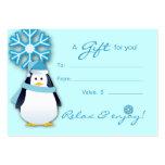 Salon Gift Card Spa Xmas Snowflake Penguin