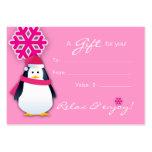 Salon Gift Card Spa Xmas Snowflake Penguin Pink