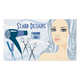 Salon Hairdresser Female & Tools Business Card