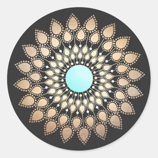 Salon holistique et spa de Lotus de logo élégant Autocollant Rond