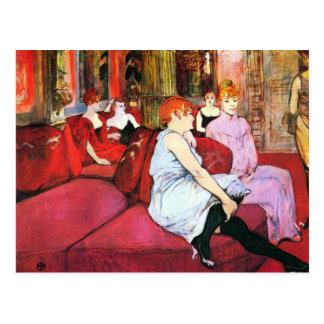 Salon in the Rue de Moulins by Toulouse-Lautrec Postcard