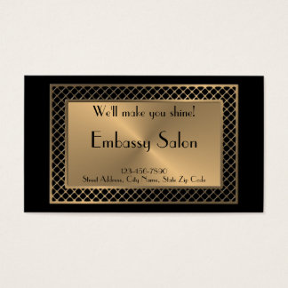 Salon in Upscale Gold Lattice on Black Business Card