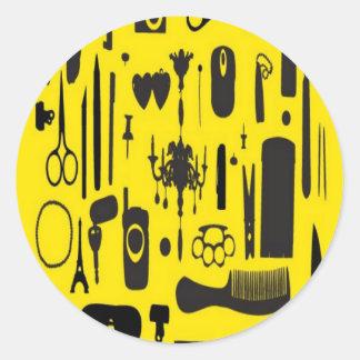 Salon instruments selection design round sticker