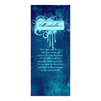 Salon Invite Floral Grunge Blue Denim