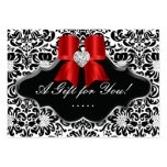 Salon Jewellery Gift Card Bow Floral Damask Red