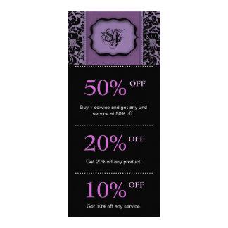Salon Marketing Cards Purple Floral Damask Personalized Rack Card