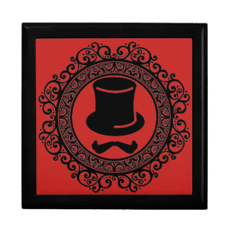 salon mustache hat hipster keepsake box