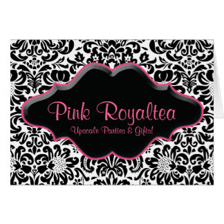 Salon Note Card Damask Black White Pink