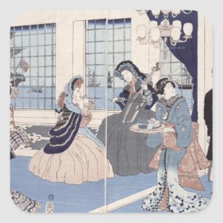 Salon of a house of foreign merchants at square sticker