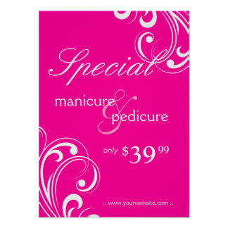 Salon Poster Spa Pink & White Swirls
