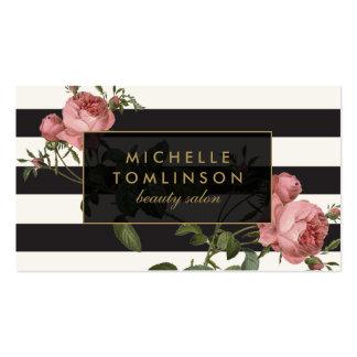 Salon rayé floral vintage II noir et ivoire Carte De Visite Standard