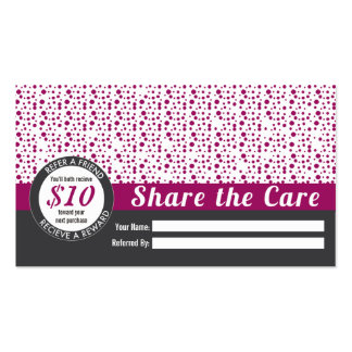 Referral business cards and business card templates for Zazzle referral cards