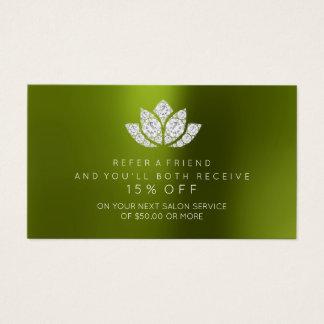 Salon Referral Card Crystals Diamond Lotus Meadow