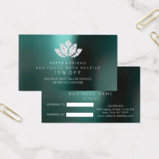 Salon Referral Card Crystals Diamond Lotus Teal