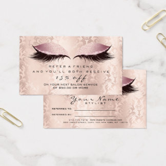 Salon Referral Card Damask Makeup Pink Lashes Glam