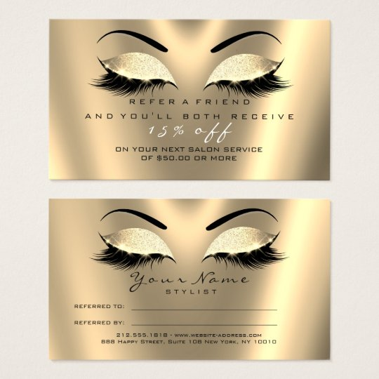 Salon Referral Card Glitter Black Gold Lux Lashes