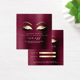 Salon Referral Card Glitter Gold Crystals Lashes