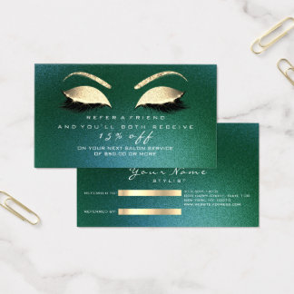 Salon Referral Card Glitter Gold Woodland  Lashes