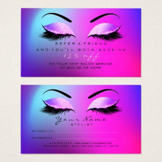 Salon Referral Card Glitter Miami Pink Lashes