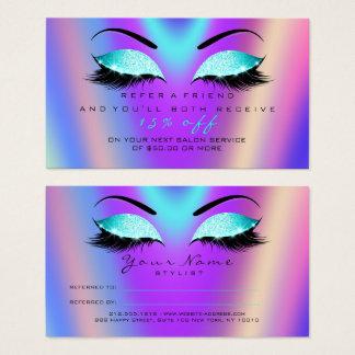 Salon Referral Card Glitter Tiffany Pink Lashes