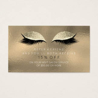Salon Referral Card Ivory Sepia Gold Lashes Makeup