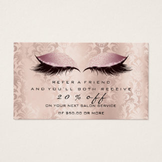 Salon Referral Card Makeup Artist Pink Lash Damask